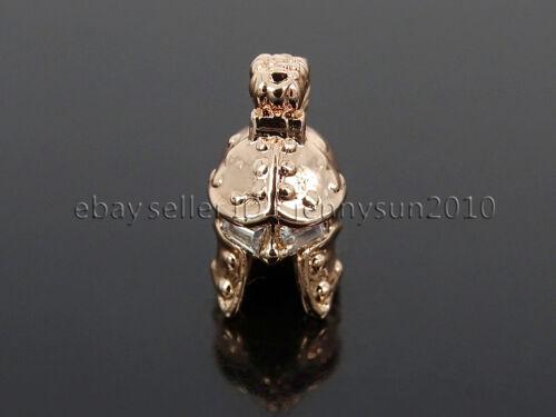 Clear Zircon Gemstone Pave Knight Helmet Mask Bracelet Connector Charm Beads