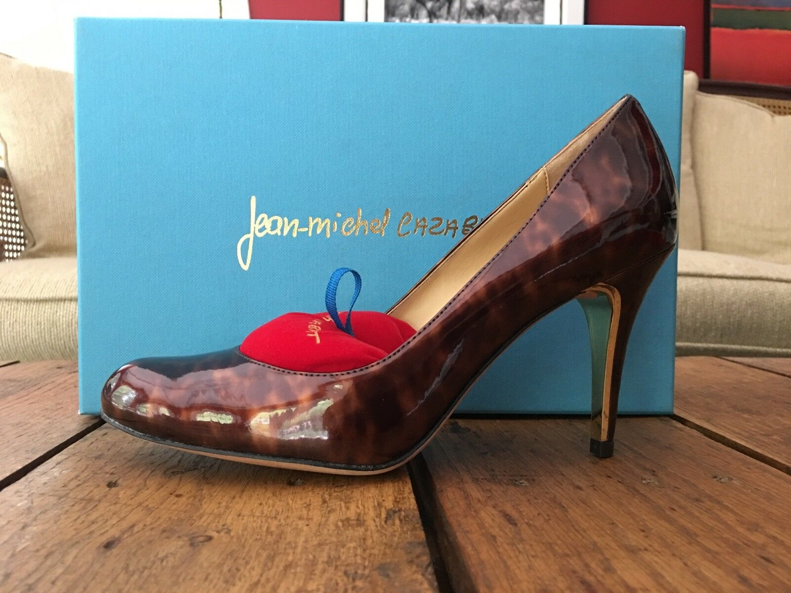 Jean-Michel Cazabat Jenni Tortoise Shell  Leather Brown Leather  High Heels 38.5 NIB 8.5 70820d