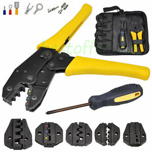 ratcheting terminal crimper tool set for insulated non insulated wire electrode ebay. Black Bedroom Furniture Sets. Home Design Ideas