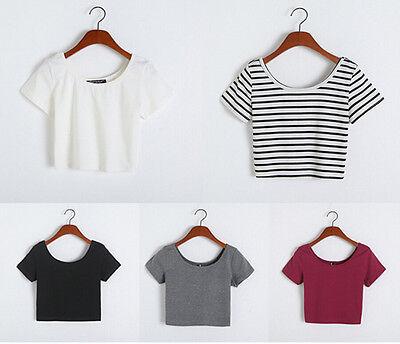 Fashion Women Sexy Short Sleeve Crop Tops Yoga Casual Blouse Vest T-Shirt
