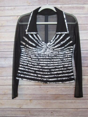 Victor Costa Faux Halter Collared Shirt Black Whit