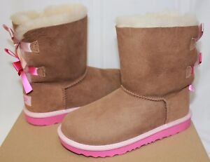 Details about Ugg Kids Bailey Bow II 2 chestnut suede pink azalea boots 1017394K NEW With Box