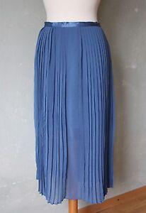 stefanel rock plissee lang blau sommer leicht mit schlitz falten gr 40 l ebay. Black Bedroom Furniture Sets. Home Design Ideas