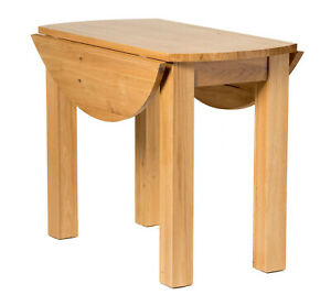 Small-Oak-Kitchen-Drop-Leaf-Dining-table-Solid-Wood-Round-Folding-Dinner-Table