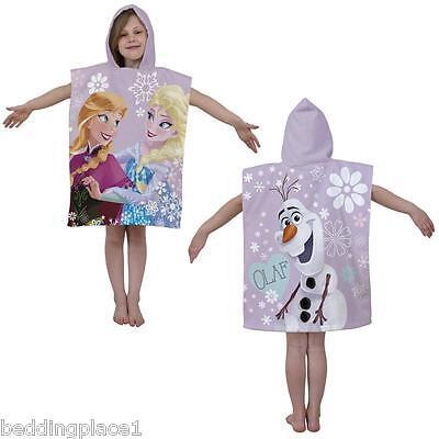 Hooded Poncho Beach Bath Towel Kids Children's Boys Girls Blue Pink 100% Cotton