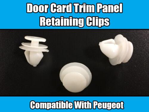 20x Clips pour PEUGEOT 206 207 406 407 607 807 porte carte fixation plastique blanc