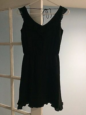 WHBM White House Black Market LBD size 0 little black dress ruffles sexy cute