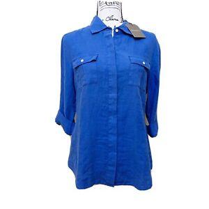 Tommy Bahama New Linen Button Down Royal Blue Blouse Sz S