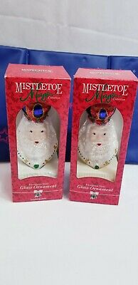 Two Trim A Home EUROPEAN Style Glass Hand Blown King Christmas Ornaments Santa claus NIB Xmas bundle 2x RARE Magic Vtg beard Figure