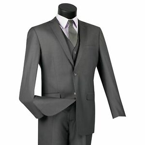 Mens White 3 Piece 2 Button Slim Fit Suit NEW With Matching Vest