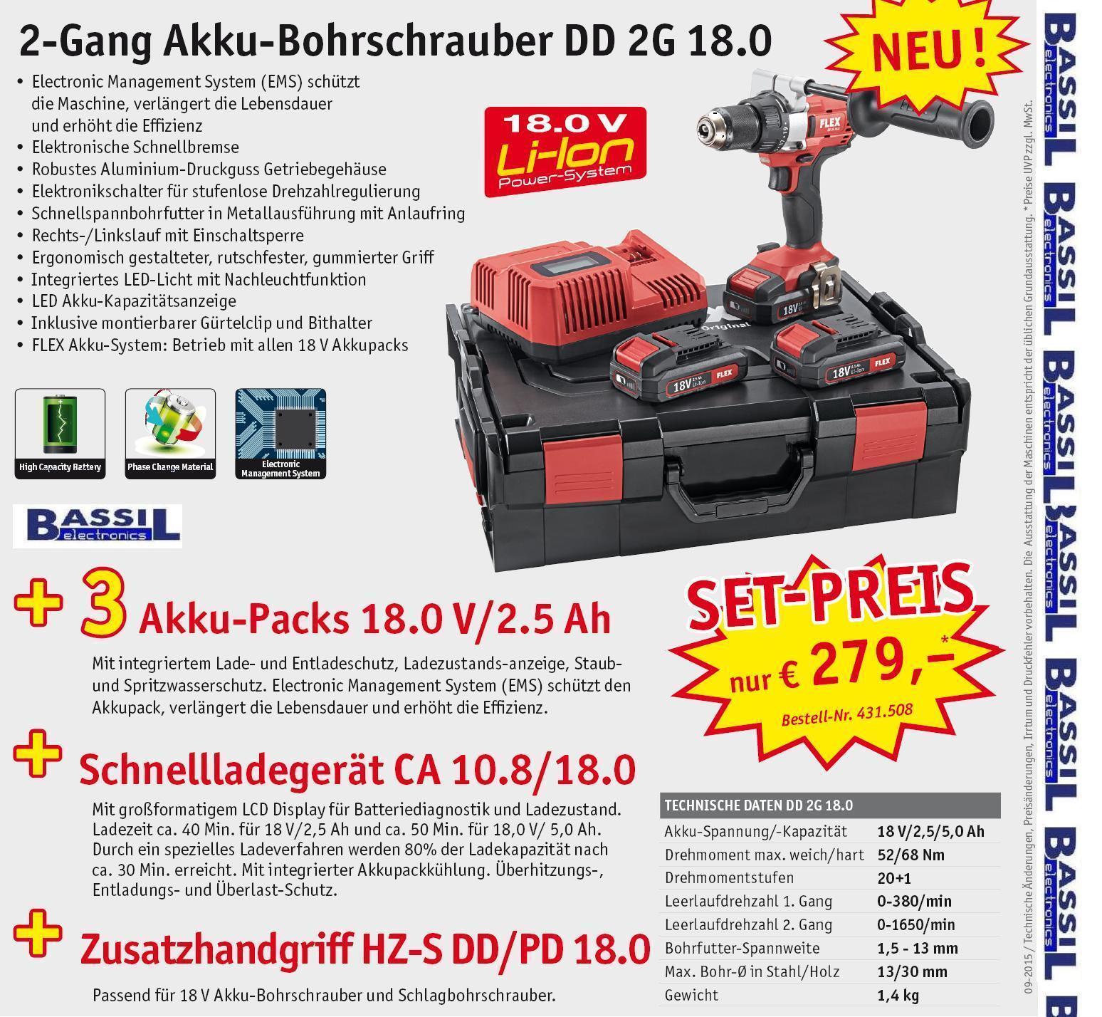 Flex DD 2G 18.0  2-Gang Akku-Bohrschrauber 18,0 V mit 3x2,5Ah Akku