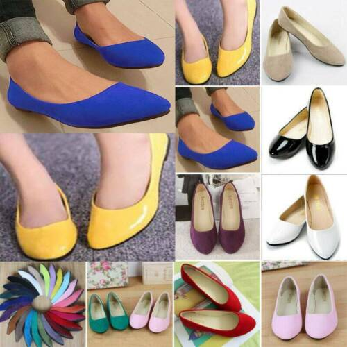 Women/'s Ballet Flats Shoes Slip-On Boat Loafers Pump Ballerina Shoes Size 4-10
