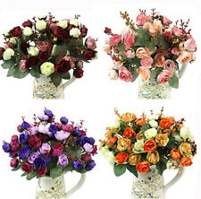 6 Color Artificial Rose Fake Silk Flowers 21 Head Flower Bouquet Party Decor DIY