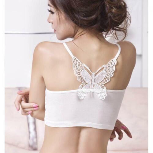 Women Blouse Sleeveless Shirt  Strapless Lace Crop Top Vest Butterfly