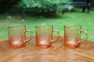 3-Pink-Glass-Mug-Kig-Indonesia-Hibiscus-Flowers-amp-Palm-Trees