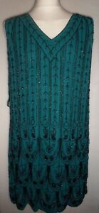 EAST-ARTISAN-Teal-V-NECK-FULLY-BEADED-DRESS-Size-14-BNIP