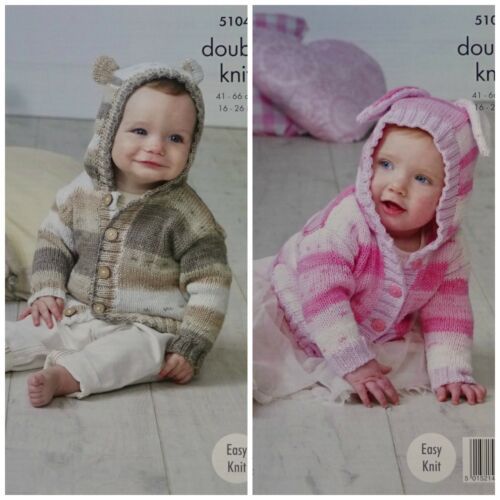 Tejer patrón Bebé Fácil De Punto Teddy /& Bunny Sudadera Con Capucha cottonsoft DK King Cole 5104