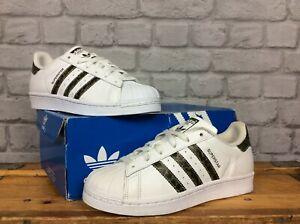 Adidas-OG-UK-5-EU-38-Blanc-Camo-Superstar-Baskets-Filles-Enfants-Femmes