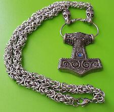 Viking Chain Skane Thor's Hammer Mjölnir Pewter Pendant Necklace - Blue Jewel