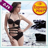 Black Monokini Padded Cup W/tie Up Front And Sides Detail Swimsuit M/l Au