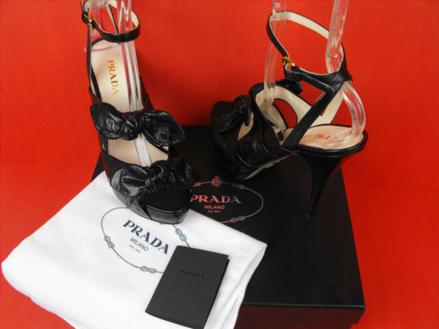 NIB PRADA BLACK LEATHER MADAME BUTTERFLY BOWS PLATFORM PUMPS  SANDALS 38.5