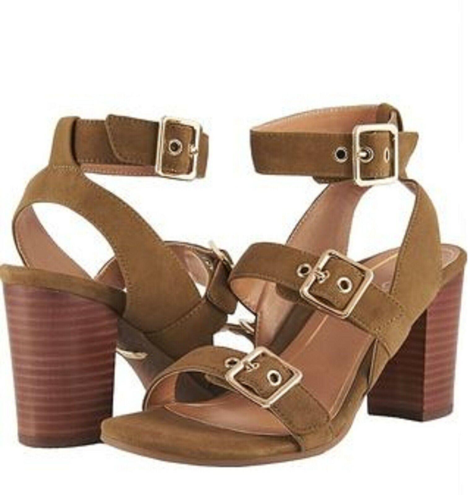 Vionic Orthaheel PERK CARMEL Block-Heel Leather Sandals Sandals Sandals OLIVE Size 9.5 M NIB 4a6c81