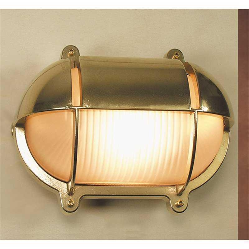 Applique in ottone lucido ovale da parete 18,2 cm