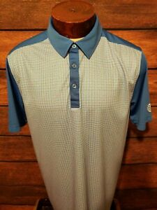 Cutter-and-Buck-Mens-Large-Blue-White-Checkered-Short-Sleeve-Golf-Polo-Shirt