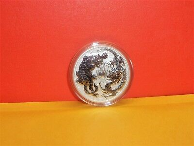2018 1oz $1 AUD Australian Silver Dragon /& Tiger Colorized Ruthenium Box /& COA