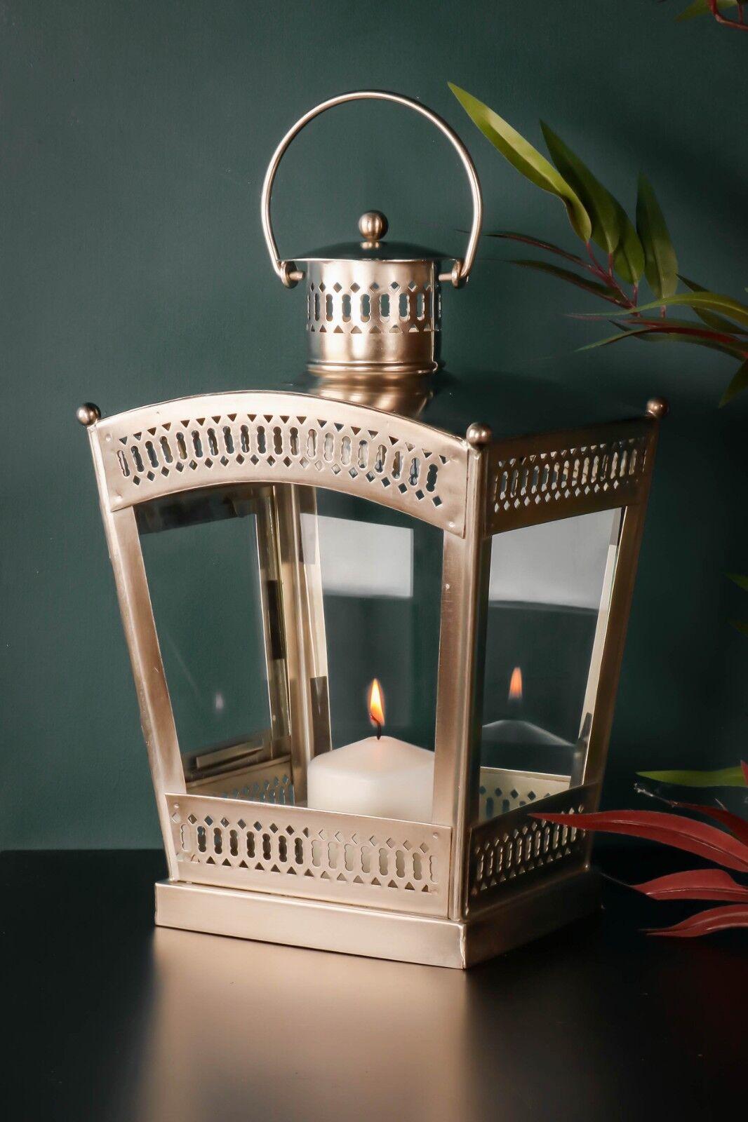 Linterna marroquí Grande sostenedor de vela interior de vidrio de Metal Aluminio Cepillado
