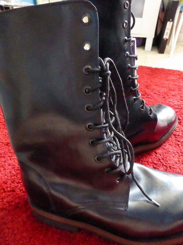 MENS HANDMADE WIDE BESPOKE LEATHER LACE UP CALF ARMY BOOTS IN BLACK uk 12 13