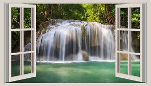 Waterfall Wall Art huge 3d window wall art sticker - tropical waterfall decal vinyl
