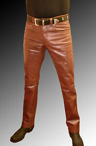 Lederjeans-braun-Lederhose-mittelbraun-Maenner-neu-mens-leather-trousers-brown