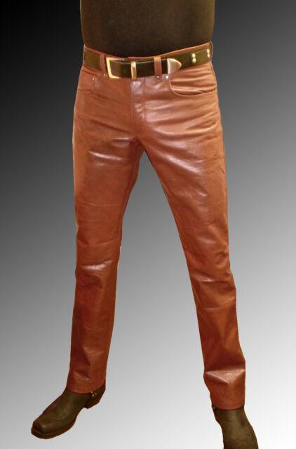 Lederjeans braun/Lederhose mittelbraun Männer neu, mens leather trousers brown