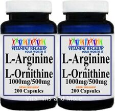 2X L-Arginine and L-Ornithine 1000mg/500mg serving 400 Caps New Freshly made