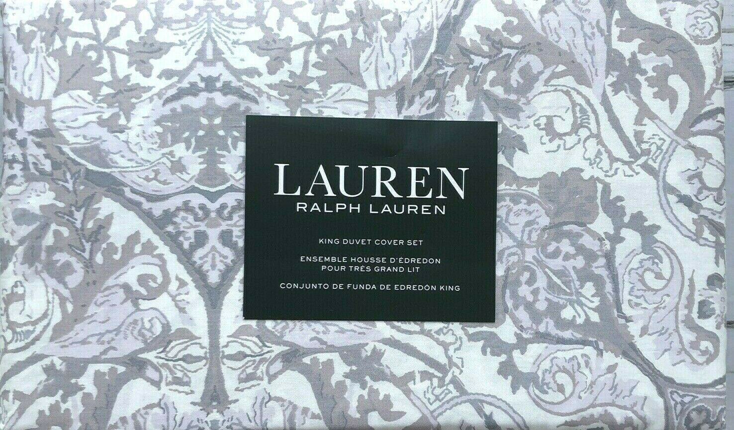 King duvet cover set Ralph Lauren medallion vine purplec Purple Taupe Ivory 3P NEW