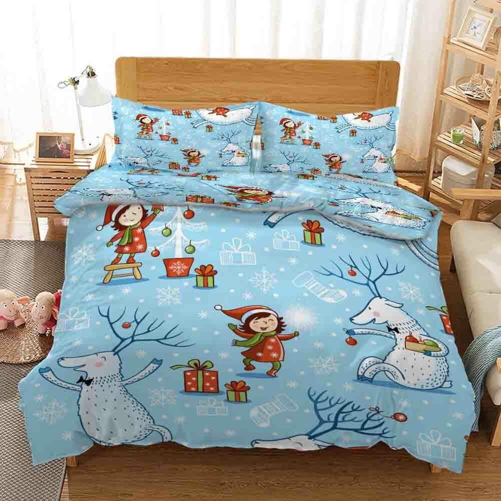 Snowman Happy Gift 3D Druckening Duvet Quilt Will Startseites Pillow Case Bettding Sets