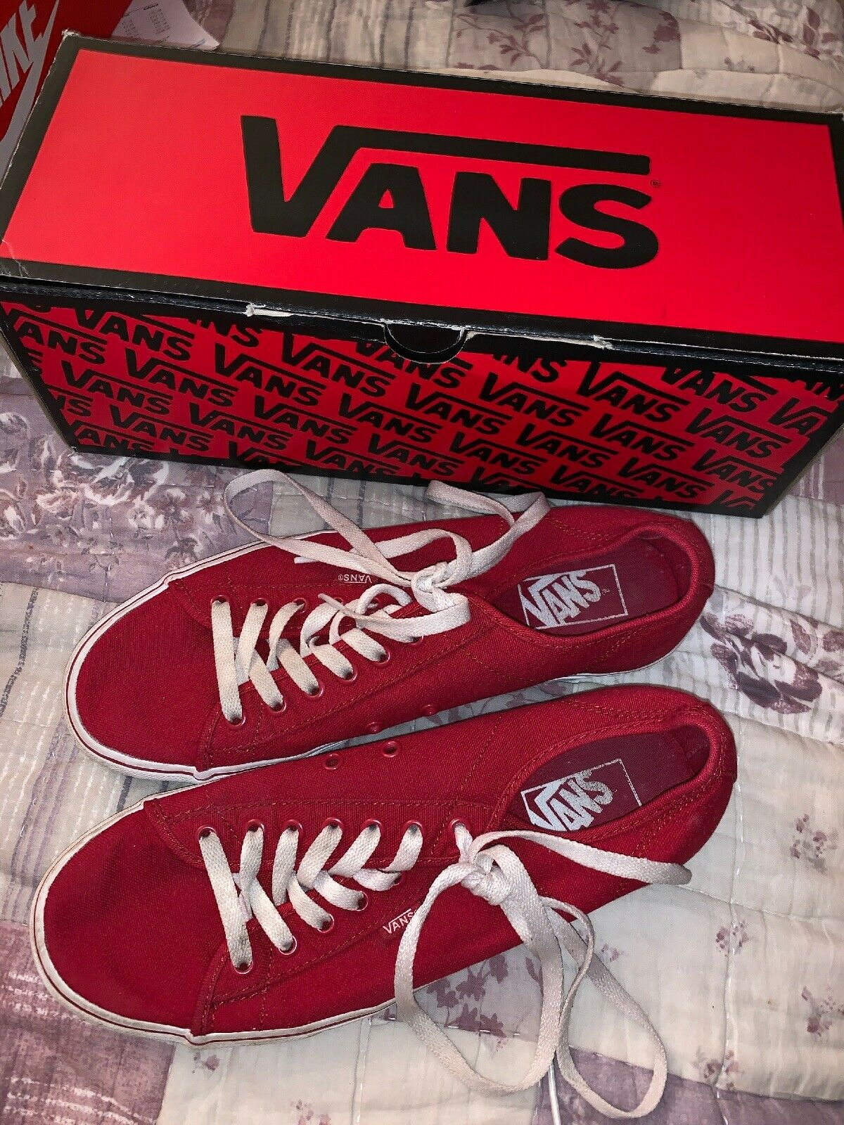 Red Mens Vans Used Trainers Hardly 10 Size 523afxxpf1263