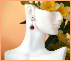 Sterling-Silver-Natural-Ruby-Gemstone-Dangle-Drop-Hook-Earring-Jewelry