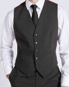 M-amp-s-homme-gris-anthracite-Gilet-Formel-Business-Mariage-Travail-Costume-Gilet