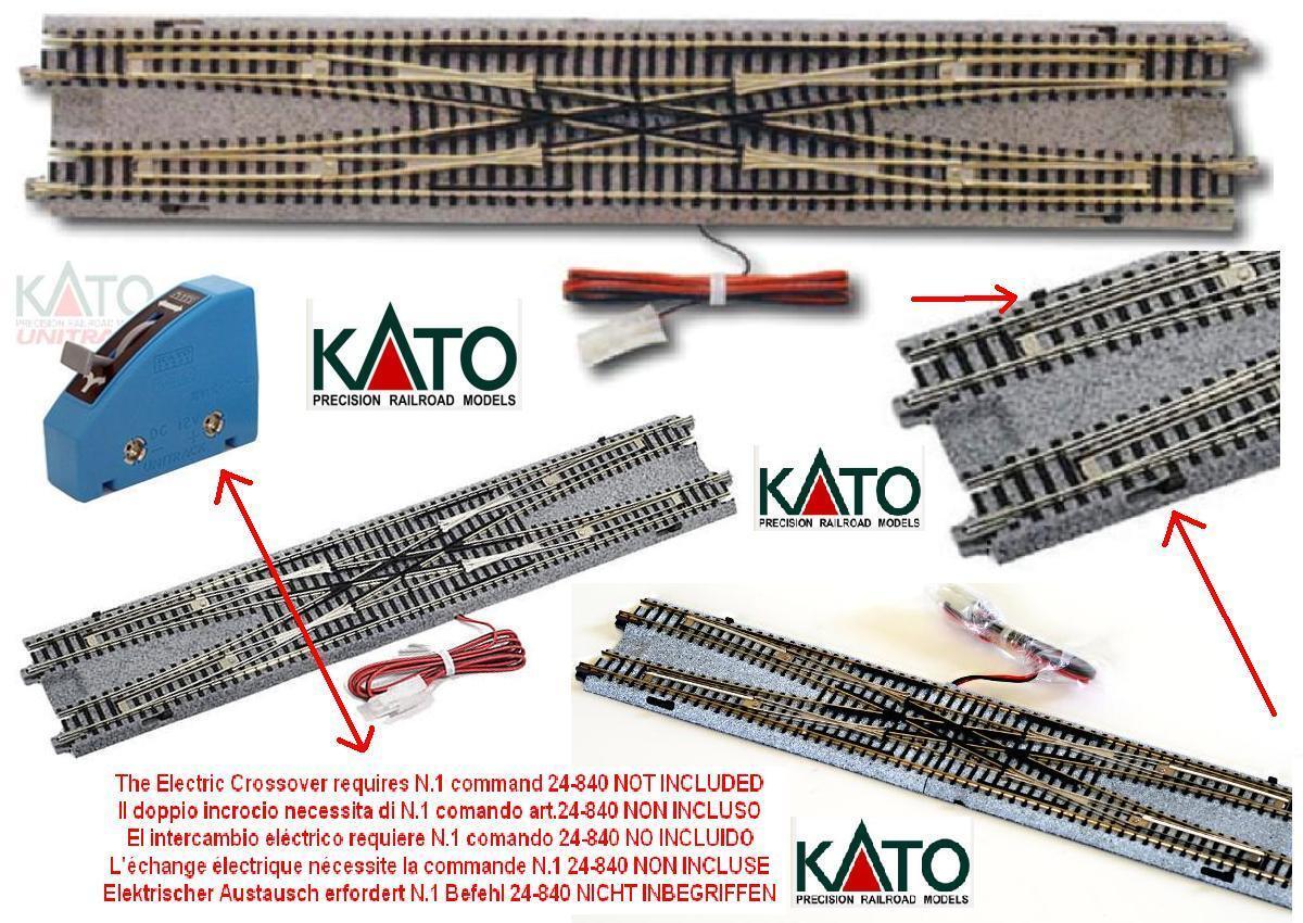 KATO 20-210 DOUBLE CROSSOVER DOPPIO SCAMBIO ELETTRICO e MANUALE mm.310 SCALA-N