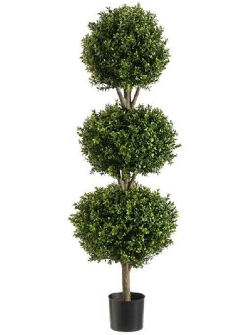 56  Boxwood 3 Ball Topiary Artificial Tree W Pot In Outdoor Plant Patio Fake