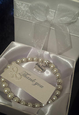 PEARL CHARM BRACELET FLOWER GIRL WEDDING GIFT BOXED THANK YOU PRESENT GIFT