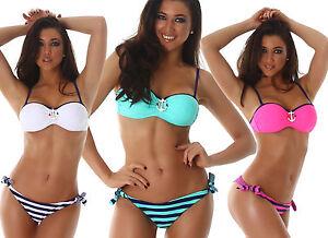 Bikini donna ancora balconcino costume da bagno mare ferretto due
