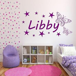 Image Is Loading Personalised Girls Name Butterfly Bedroom  Wall Art Stickers