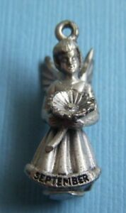 2fce7bb7a6f02 Details about Vintage Creed September aster flower angel sterling charm