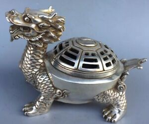 Collectable-Miao-Silver-Carve-Tibet-Dragon-Tortoise-Handwork-Old-Incense-Burner
