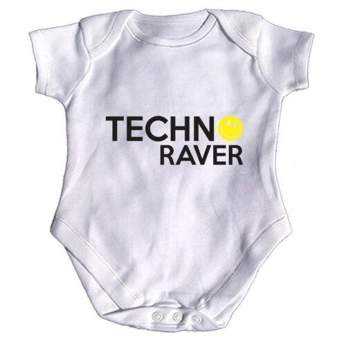 Techno Raver Rave Music Funny Baby Infants Babygrow Romper Jumpsuit