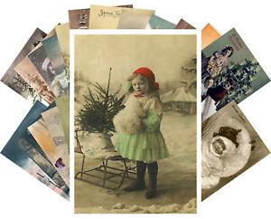 Postcards-Pack-24-cards-Vintage-Christmas-Antique-Photos-Colored-CH4004