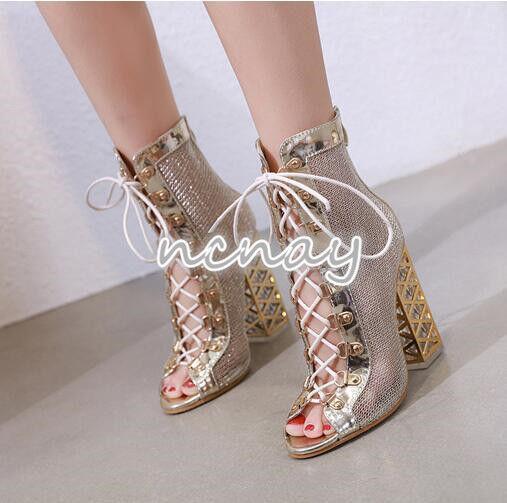 New femmes Mesh Open Toe Lace Up Sandal bottes bottes bottes High Block Heel Roman Zipper chaussures 0dbabb